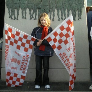 Libby at wembly as mascot for barnsley
